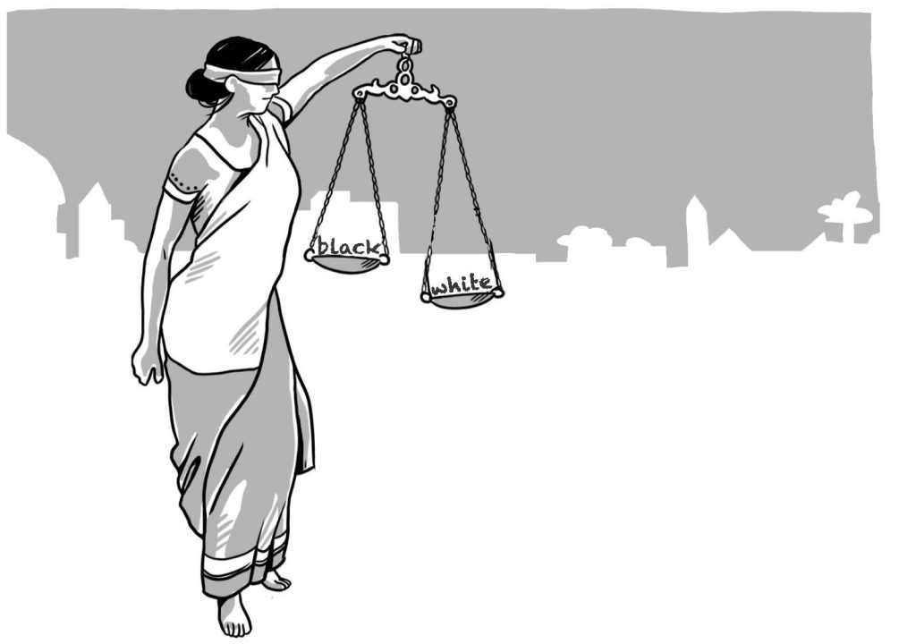 Justicia holding a scale with good and bad on the two sides
